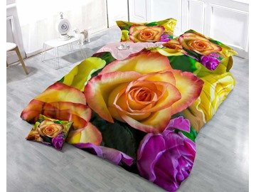 3D Colorful Roses Printed Luxury Style Cotton 4-Piece Bedding Sets/Duvet Covers