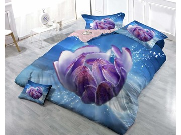 3D Purple Bud and Blue Sky Printed Cotton 4-Piece Bedding Sets/Duvet Cover