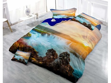 3D Magnificent Waterfall in the Sunset Printed Luxury Cotton 4-Piece Bedding Sets