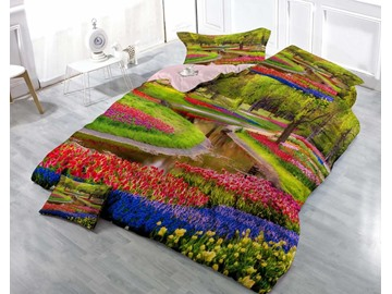 Colorful Flowers and Green Tree Wear-resistant Breathable High Quality 60s Cotton 4-Piece 3D Bedding Sets