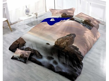 3D Rock and Sea Printed Luxury Cotton 4-Piece Bedding Sets/Duvet Cover
