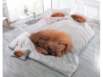 3D Puppy Printed Cotton 4-Piece Luxury White Bedding Sets/Duvet Covers