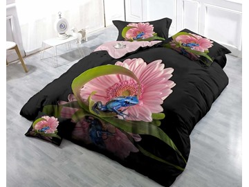 Pink Daisy and Blue Frog Wear-resistant Breathable High Quality 60s Cotton 4-Piece 3D Bedding Sets