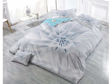 3D Pure White and Pale Gray Flower Printed Cotton 4-Piece Bedding Sets