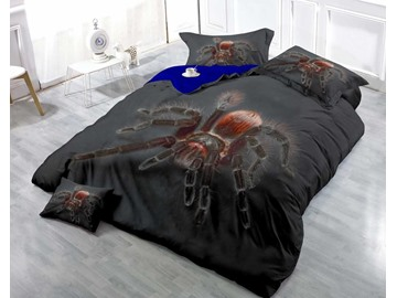 3D Big Spider Printed Luxury Cotton 4-Piece Black Bedding Sets/ Duvet Cover