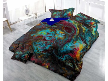3D Fancy Oil Painting Printed Luxury Cotton 4-Piece Bedding Sets/ Duvet Cover