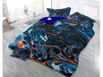 3D Abstract Lines Printed Deep Color Cotton 4-Piece Bedding Sets/Duvet Cover