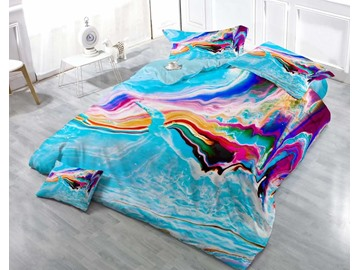 3D Spoondrift Printed Cool and Refreshing Cotton 4-Piece Bedding Sets/Duvet Cover