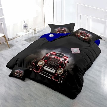 Retro Vintage Luxury Car Wear-resistant Breathable High Quality 60s Cotton 4-Piece 3D Bedding Sets