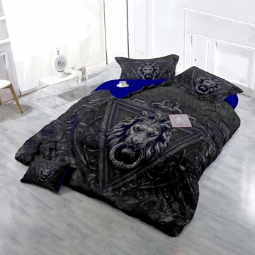 3D Lion Head Printed Cotton 4-Piece Black Bedding Sets/Duvet Cover