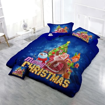 3D Santa Claus and Christmas Snowman Printed Cotton 4-Piece Bedding Sets/Duvet Covers