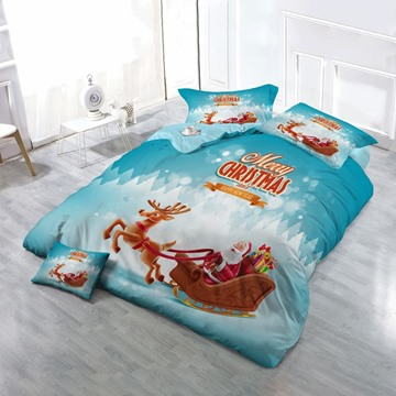 3D Merry Christmas Santa Sleigh Reindeer Cotton 4-Piece Bedding Sets/Duvet Covers