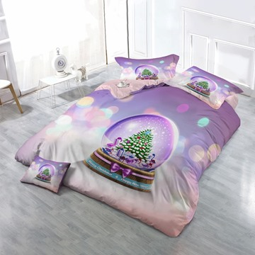 3D Christmas Tree Crystal Snow Ball Cotton 4-Piece Purple Bedding Sets/Duvet Cover
