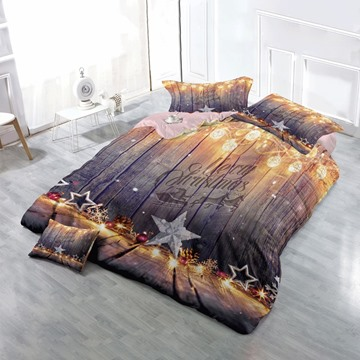 3D Christmas Decorations String Lights Stars Printed Cotton 4-Piece Bedding Sets/Duvet Cover