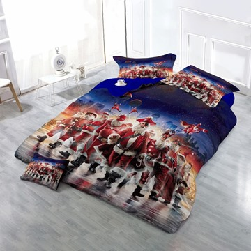 3D Santa Claus Cosplay Printed Cotton 4-Piece Christmas Bedding Sets/Duvet Cover