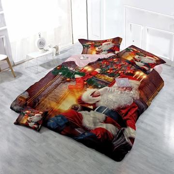 3D Santa in Red Suit Christmas Candles Cotton 4-Piece Bedding Sets/Duvet Cover