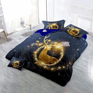 3D Merry Christmas Golden Reindeer Printed Cotton 4-Piece Bedding Sets/Duvet Cover