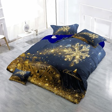 3D Golden Snowflake Christmas Time Printed Cotton 4-Piece Bedding Sets/Duvet Cover
