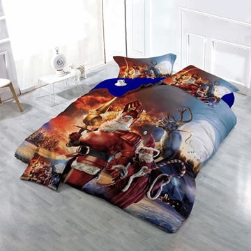 Santa Claus Knight Wizard and Reindeer Wear-resistant Breathable High Quality 60s Cotton 4-Piece 3D Bedding Sets