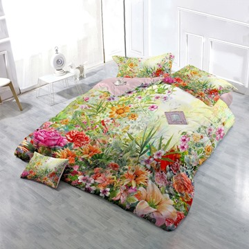 3D Spring Floral Garden Cotton 4-Piece Bedding Sets/Duvet Cover