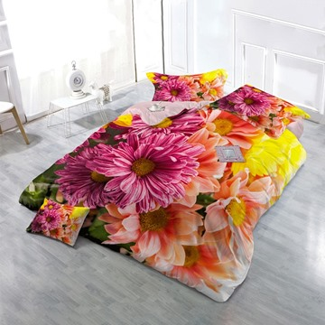 Colorful Gerbera Daisy Wear-resistant Breathable High Quality 60s Cotton 4-Piece 3D Floral Bedding Sets
