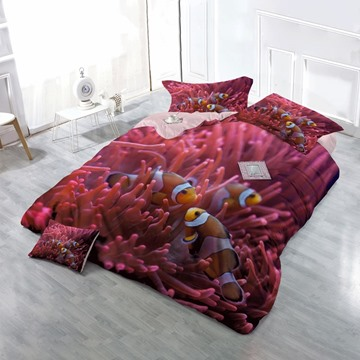 3D Clownfish and Red Corals Printed Cotton 4-Piece Bedding Sets/Duvet Cover