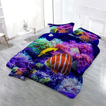 3D Coral Fish Sea World Printed Cotton 4-Piece Bedding Sets/Duvet Cover