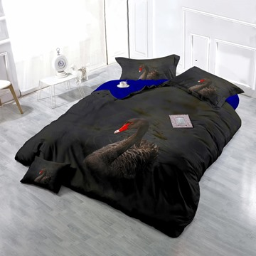 3D Black Swan Printed Cotton 4-Piece Bedding Sets/Duvet Cover