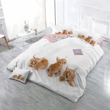 3D Baby Caracals Printed Cotton 4-Piece White Bedding Sets/Duvet Cover