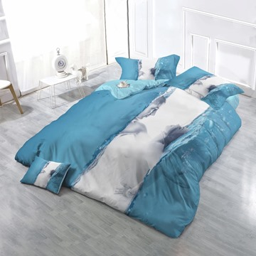3D Lovers and Water Wave Printed Cotton 4-Piece Bedding Sets/Duvet Cover