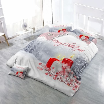3D Merry Christmas Candles in Snow Printed Cotton 4-Piece Bedding Sets/Duvet Cover