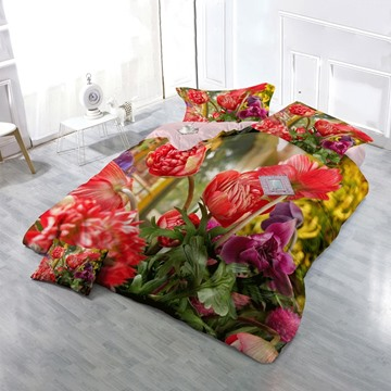 3D Red Peonies Printed Floral Cotton 4-Piece Bedding Sets/Duvet Cover