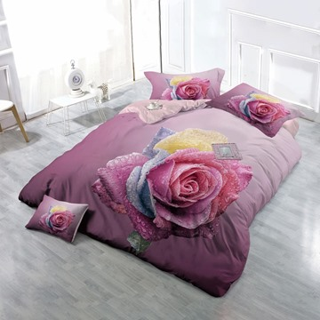 3D Dewy Colorful Rose Printed Floral Cotton 4-Piece Pink Bedding Sets/Duvet Cover