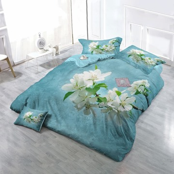 3D Pear Flower Blossoming Printed 4-Piece Lake Blue Bedding Sets/Duvet Cover