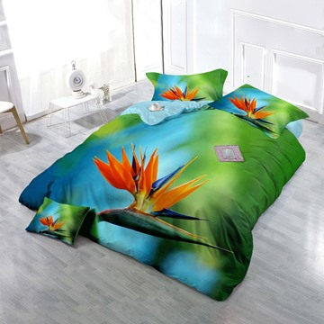 3D Bird of Paradise Printed Cotton 4-Piece Bedding Sets/Duvet Cover