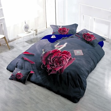 3D Blooming Red Rose and Petals Printed Cotton 4-Piece Bedding Sets/Duvet Cover