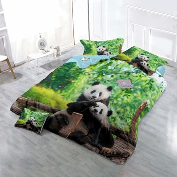 3D Panda Hilarious Moment Printed Cotton 4-Piece Bedding Sets/Duvet Cover