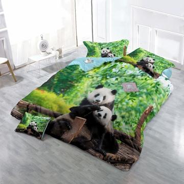 3D Panda Hilarious Moment Printed Cotton 4-Piece Bedding Sets/Duvet Cover