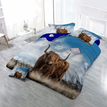 3D Brown Yak on Grass Field Printed Cotton 4-Piece Bedding Sets/Duvet Cover