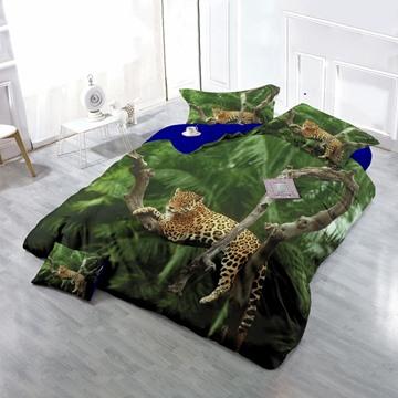3D Leopard Resting on Tree Cotton 4-Piece Bedding Sets/Duvet Cover