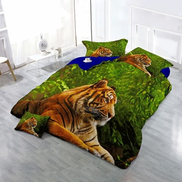 3D Tiger Lying in Green Jungle Printed Cotton 4-Piece Bedding Sets/Duvet Cover