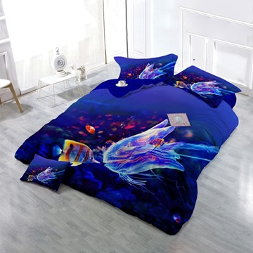 3D Coral Fish and Jellyfish 4-Piece Dark Blue Bedding Sets/Duvet Cover
