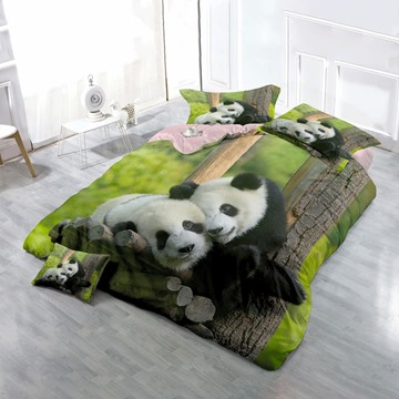 3D Pandas Couple Printed Cotton 4-Piece Green Bedding Sets/Duvet Cover