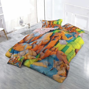 3D Colorful Polygon Mountain Peaks Printed Cotton 4-Piece Christmas Bedding Sets/Duvet Covers