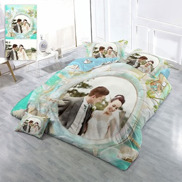 Happy Couple Picture Custom-made Design Wear-resistant Breathable High Quality 60s Cotton 4-Piece 3D Bedding Sets