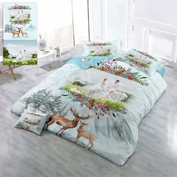 Happy Wedding Personal Picture Custom-made Design Wear-resistant Breathable High Quality 60s Cotton 4-Piece 3D Bedding Sets