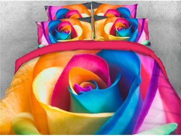 3D Colorful Rose Reactive Printing Cotton 4-Piece Bedding Sets/ Duvet Cover Sets