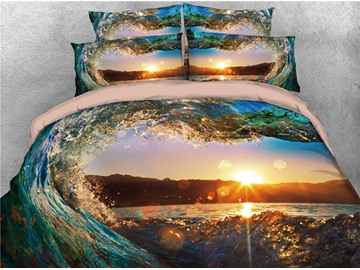 3D Water Heart-shaped Sunset Scenery Printing Cotton 4-Piece Bedding Sets/ Duvet Cover Sets