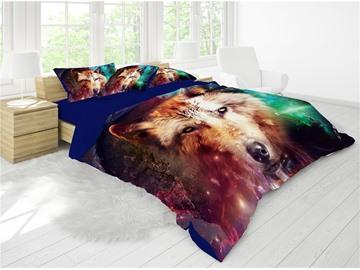 3D Wild Wolf Reactive Printing Cotton 4-Piece Bedding Sets/ Duvet Cover Sets