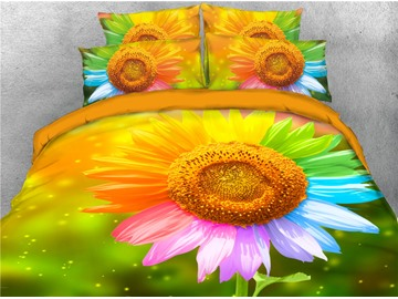 3D Multi-color Sunflower Printing Cotton 4-Piece Bedding Sets/ Duvet Cover Sets